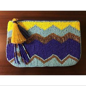 Handbags - Bohemian Blue & Yellow Beaded Clutch